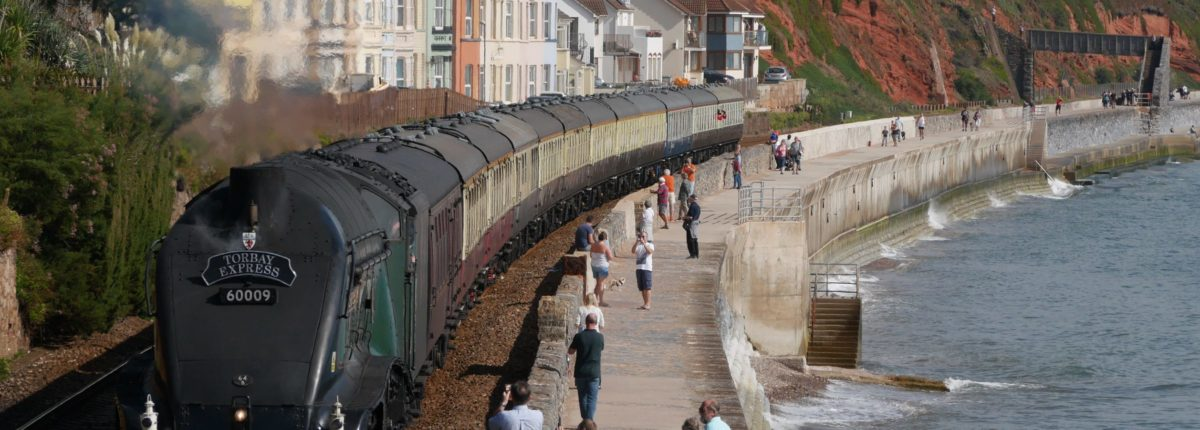 the train line, Torbay Express and sea front houses